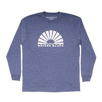 Horizon Sunrise Long Sleeve Tee in Navy by Waters Bluff - FINAL SALE