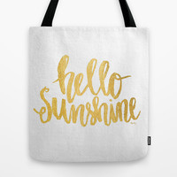 Hello Sunshine Gold and White Tote Bag by Misty Diller Of Misty Michelle Design