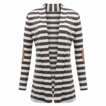 Striped Cardigan with Elbow Patch