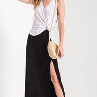 The Side Slit Maxi Skirt- Black