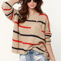 Audrey Brown Striped Sweater