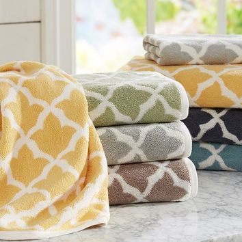MARLO JACQUARD ORGANIC 600-GRAM WEIGHT BATH TOWELS