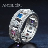 Angel Girl 2017 Simple Geometric Design Paved CZ Engagement Wedding Rings White/ Rose/ Gold Color  trendy Ring for Women 2017