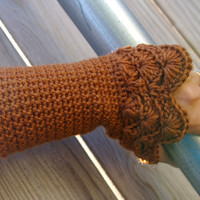 Arm warmers in Copper Brown Hand Crocheted Black by CandacesCloset