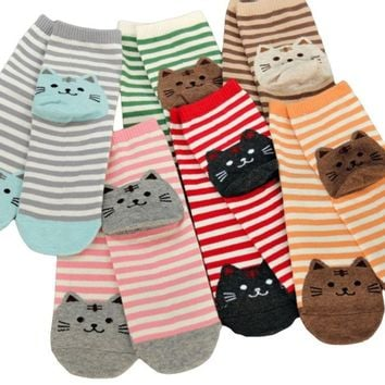 Cute Cat Cartoon Socks