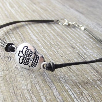 Day of the Dead Sugar Skull and Black Leather Lace Bracelet