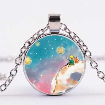 Harajuku Style Jewelry with Silver/Bronze Plated Cute Little Prince Shaped Glass Cabochon Chokr Long Pendant Necklace for Women