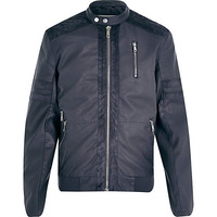 River Island MensGrey panelled perforated jacket