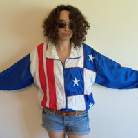 Vintage 80/90s Hipster American Red White and Blue Stars and Stripes Windbreaker Jacket