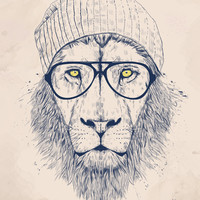 Cool lion Art Print by Balázs Solti