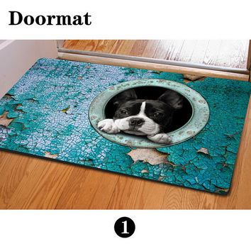 Puppy Dog Printed Personalized Entrance Mat Indoor Kitten Cat Doormat Area Rug Living Room Decor