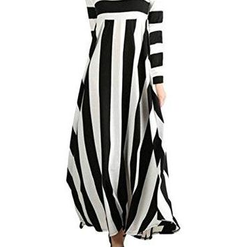 Women's Striped Long Sleeve Round Neck Fit and Flare Loose Casual Maxi Dress