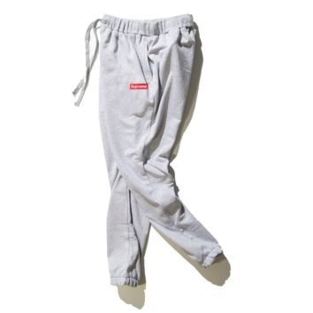 Autumn and winter Supreme trousers youth leisure classic solid color Wei trousers foot pants tide Gray