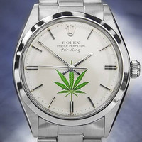 Gorgeous Vintage Rolex Oyster Air-King Cannabis Watch with Silver Dial c.1978 #5174