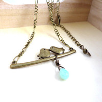 Love Birds with Dangle Bead Necklace by SirensAllure on Etsy
