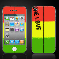 One Love Reggae rasta colors  iPhone 4 4S Vinyl Decal by ItsASkin