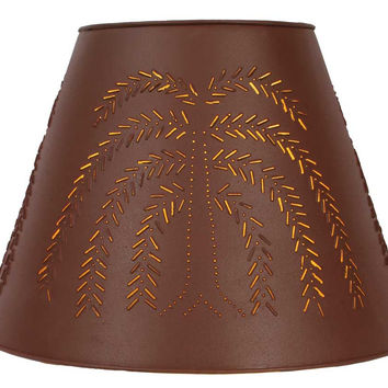 Tin Punch  Washer Top Lamp Shade - Red Willow