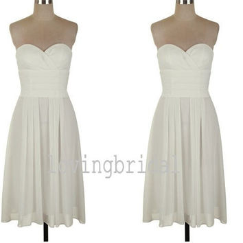 2014 Long Ivory Chiffon Prom Dress Bridesmaid Dress Party Dress Simple Homecoming Dress Formal Prom Dress Custom