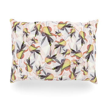 "Akwaflorell ""Fuchsia on the Wind"" Yellow Oblong Pillow"