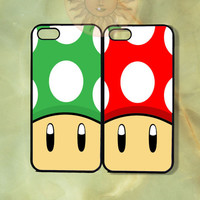 Green and Red Mushrooms Super Mario iPhone 5, 5s, 5c, 4s, 4, ipod touch 4, 5, Samsung GS3 GS4-Silicone Rubber, Hard Plastic cover