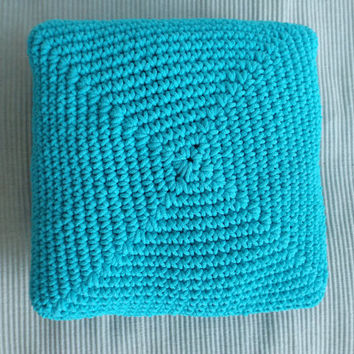 Floor cushion Crochet cushion Large floor pillow Outdoor furniture Home decor Turquoise Crochet pillow Floor pouf Outdoor pillow Square pouf
