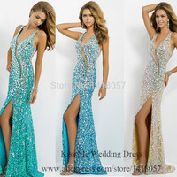 Robe De Soiree Glittering Crystal Evening Dresses 2015 Blue Gold Halter Mermaid Sequined Backless Prom Gowns Split High W418