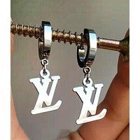 LV New Popular Women Simple Titanium Steel Letter Earrings