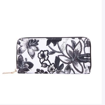 New Women's Casual Floral Printing Leather Zipper Wallet