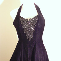Vintage 80s Black Velvet Pin Up Halter Dress Crinoline Slip and Sequin Beading