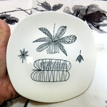 Four 1950s Bread & Butter Plates Nature Study by Midwinter Staffordshire England Vintage Designed by Terance Conran