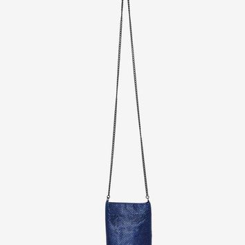 Whiting & Davis Phone It In Beaded Crossbody Bag - Blue