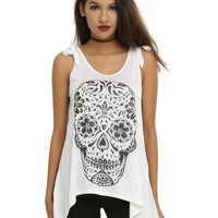 Glitter Sugar Skull Shoulder Tie Girls Tank Top