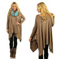 Chic Sharkbite Tunic in Mocha