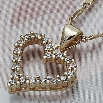 Gold Layered Women Heart Fancy Necklace, with White Cubic Zirconia, by Folks Jewelry