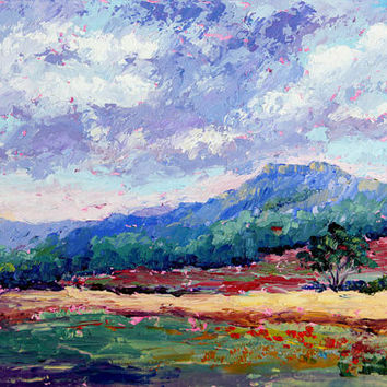 "Original Oil painting ""Threatening Skies"" by Marion Hedger - Skyscape, Impressionist palette knife landscape 8x12inch"