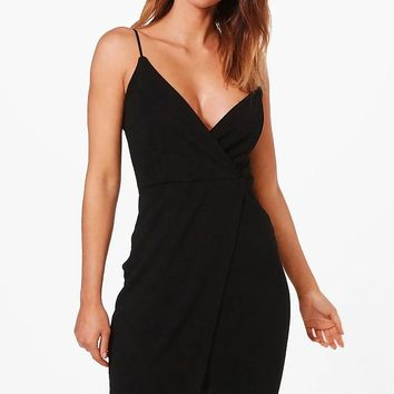 Julia One Shoulder Wrap Bodycon Dress | Boohoo
