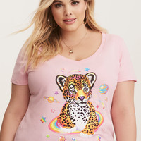 Lisa Frank Multi-Color Leopard V-Neck Tee