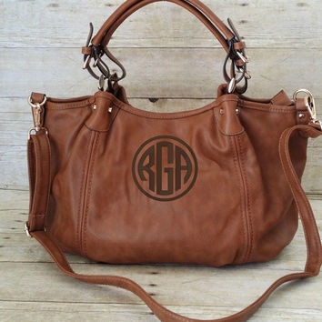 Monogram Purse - Hobo Handbag - Brown Vegan Leather Bag - Personalized Purse - Double Handle Purse - Monogrammed Pocketbook - Monogram Tote