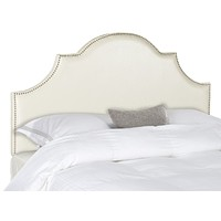 Hallmar White Leather Headboard - Silver Nail Head Queen