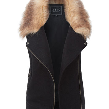 LE3NO Womens Wool Moto Biker Sleeveless Vest with Faux Fur Collar