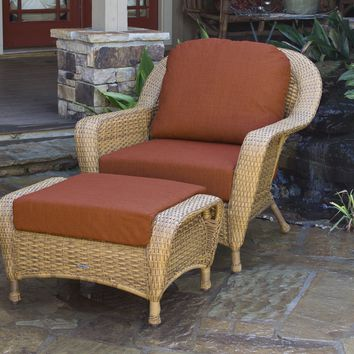 Tortuga Outdoors Lexington Wicker Club Chair and Ottoman