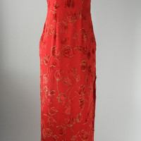 Red & Gold Silk Chiffon & Chenille Cheongsam Dress, Small