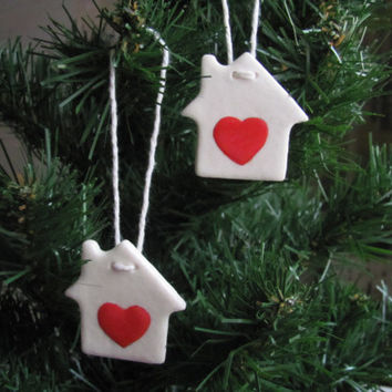 House ornaments christmas house for christmas tree with love first home ornament salt dough ornaments primitive christmas tree hanging decor