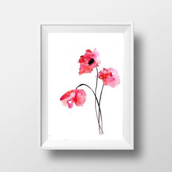 Poppy flower watercolor painting red floral wall art botanical & Best Red Poppy Wall Art Products on Wanelo