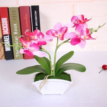 small artificial butterfly orchid flower set with real touch leaves artificial plants overall floral for wedding