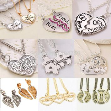 2017  Heart Broken Style 2-Piece And 3 Parts Pendant Necklace Best Friend Forever Necklace Gift For Girl