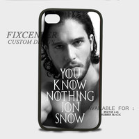 You Know Nothing Jon Snow Game Of Thrones Rubber Cases for iPhone 4,4S, iPhone 5,5S, iPhone 5C, iPhone 6, iPhone 6 Plus, Samsung Galaxy S3, Samsung Galaxy S4, Samsung Galaxy S5  phone case design