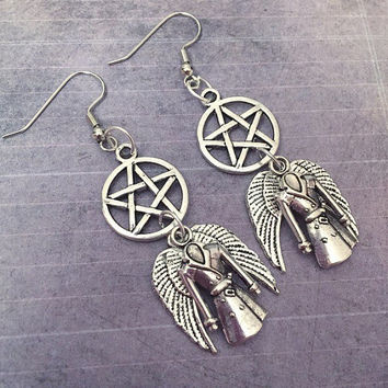 Supernatural Earrings , Supernatural Jewelry, Team Free Will Jewelry, Fandom Jewelry, Cosplay Jewelry, Pentagram Earrings, Castiel Jewelry