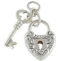 Heart Lock and Key Movable Vintage Style 925 Sterling Silver Traditional Charm or Pendant: Jewelry: Amazon.com