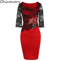 Women Floral Embroidered Translucent Lace Sleeve Dress Party Bridesmaid Wear Club Bodycon Sheath Pencil Dress Plus Size